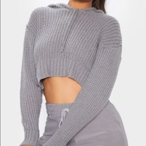 Grey knitted cropped hoodie